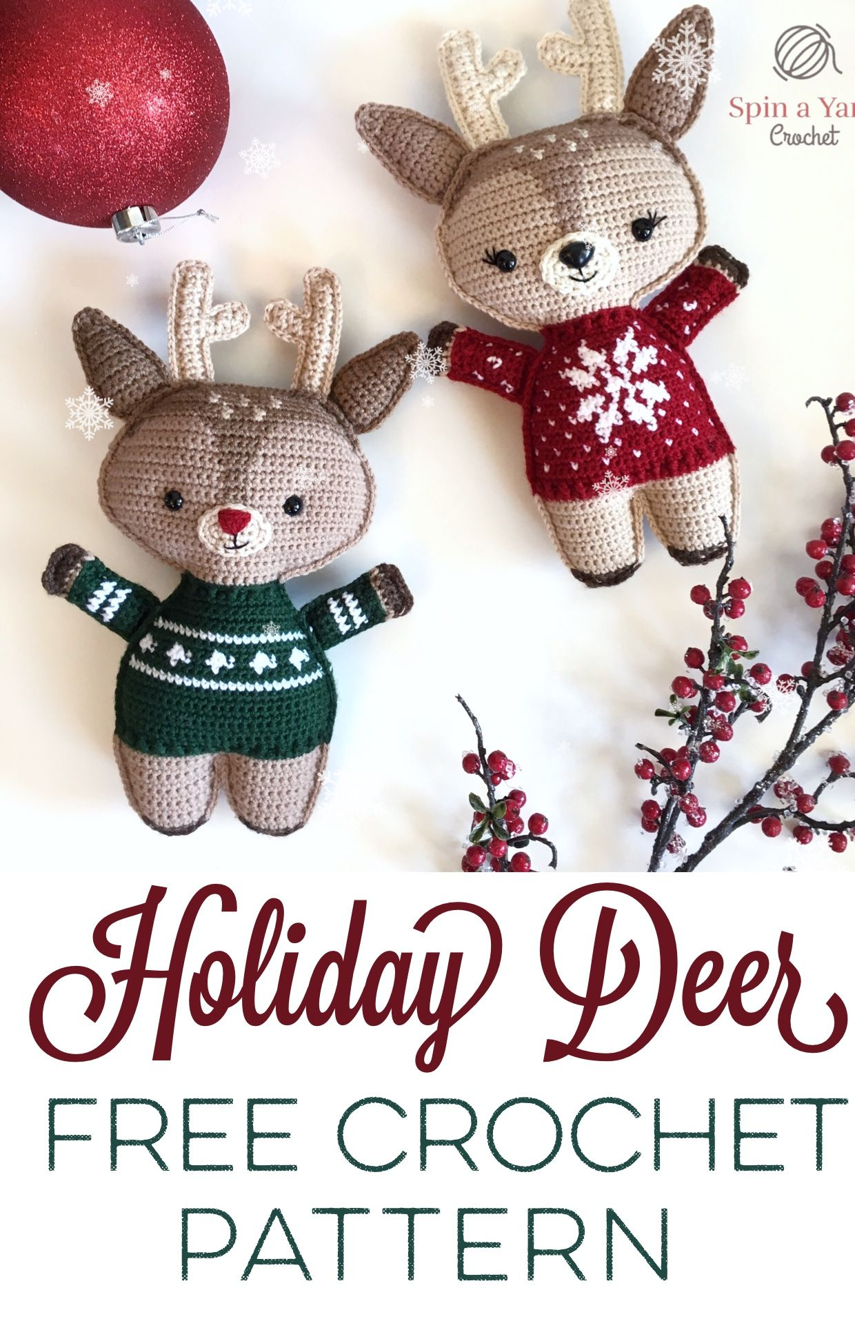 Holiday Deer Free Crochet Pattern (Part 1 | Patrones, Navidad y ...