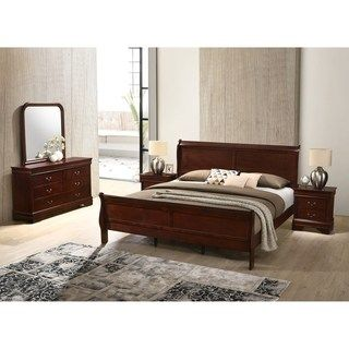 Best Isola Louis Philippe Style Sleigh Bedroom Set Bed 400 x 300