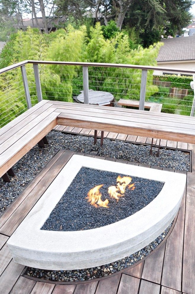 Wood Burning Fire Pit Patio Contemporary With Bench Built In Bench Cable Railing  Concrete Fire
