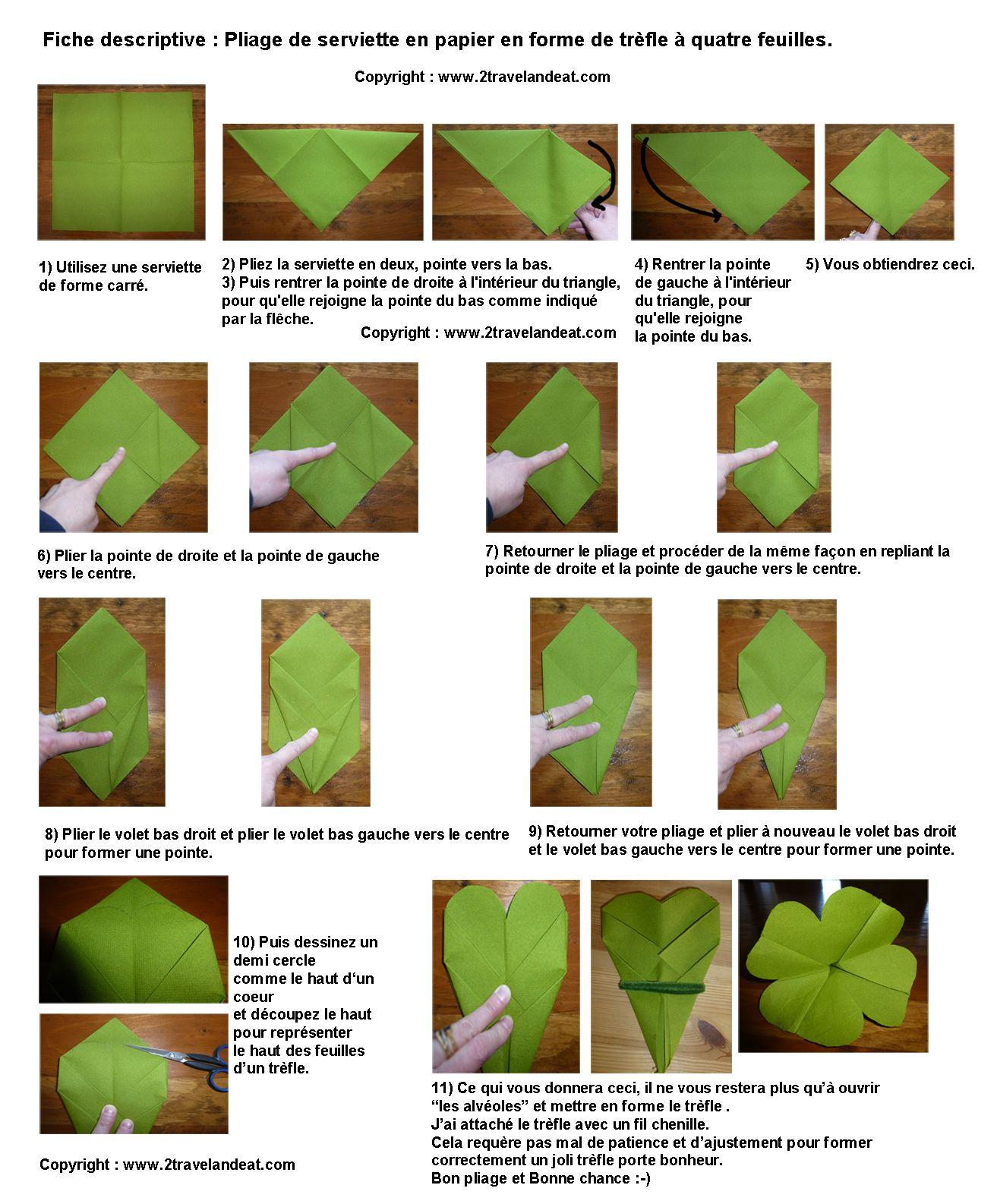 Pliage de serviette de table en forme de tr fle quatre feuilles plier une d co table - Plier des serviettes ...