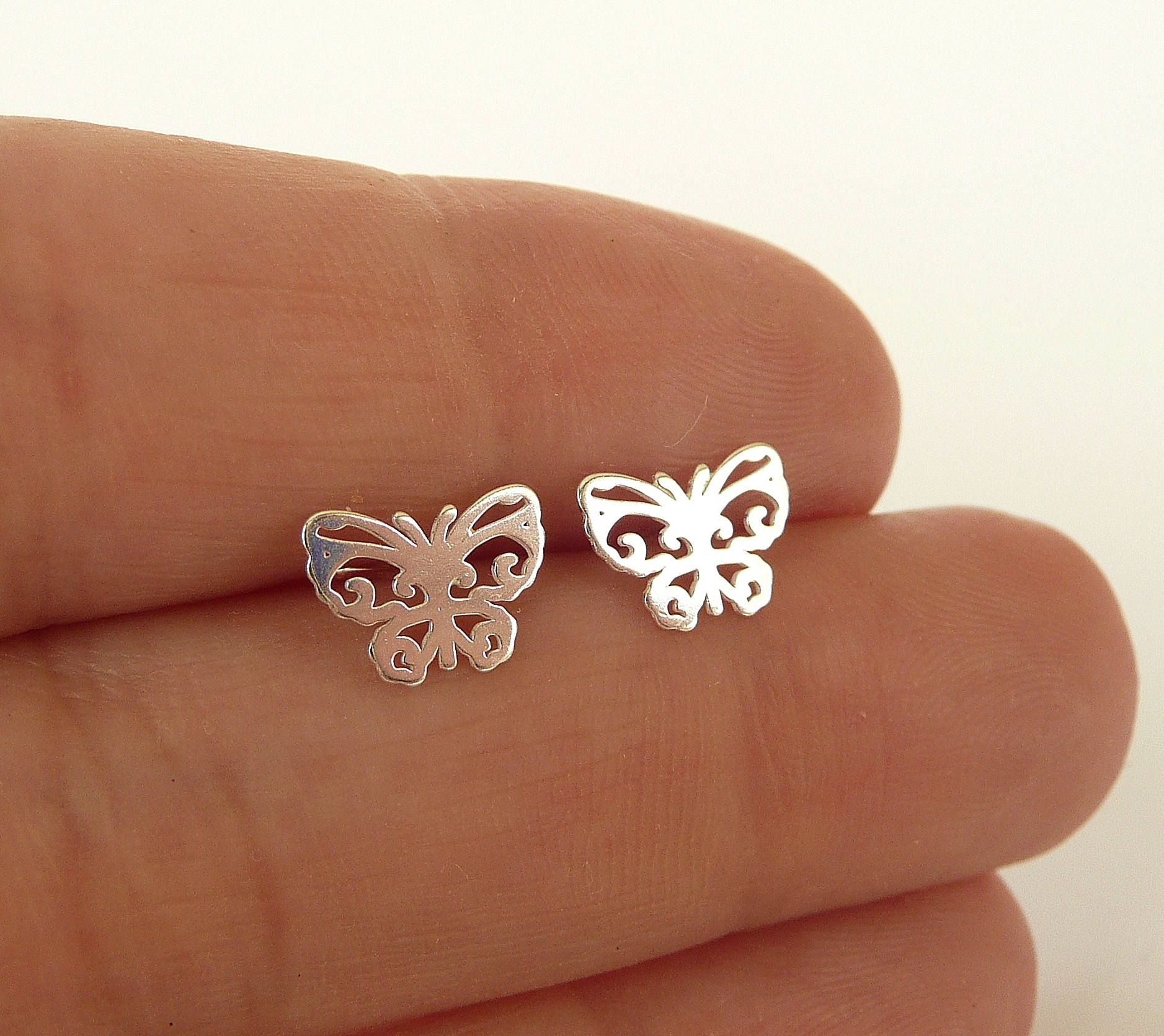 Cute New White Gold Plated Silver Smooth /& Shiny 4 Leaf Clover Stud Earrings for Women Lady