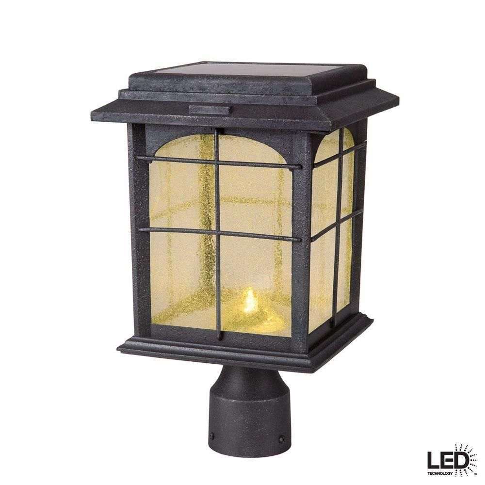 Hampton bay solar outdoor handpainted sanded iron post lantern with