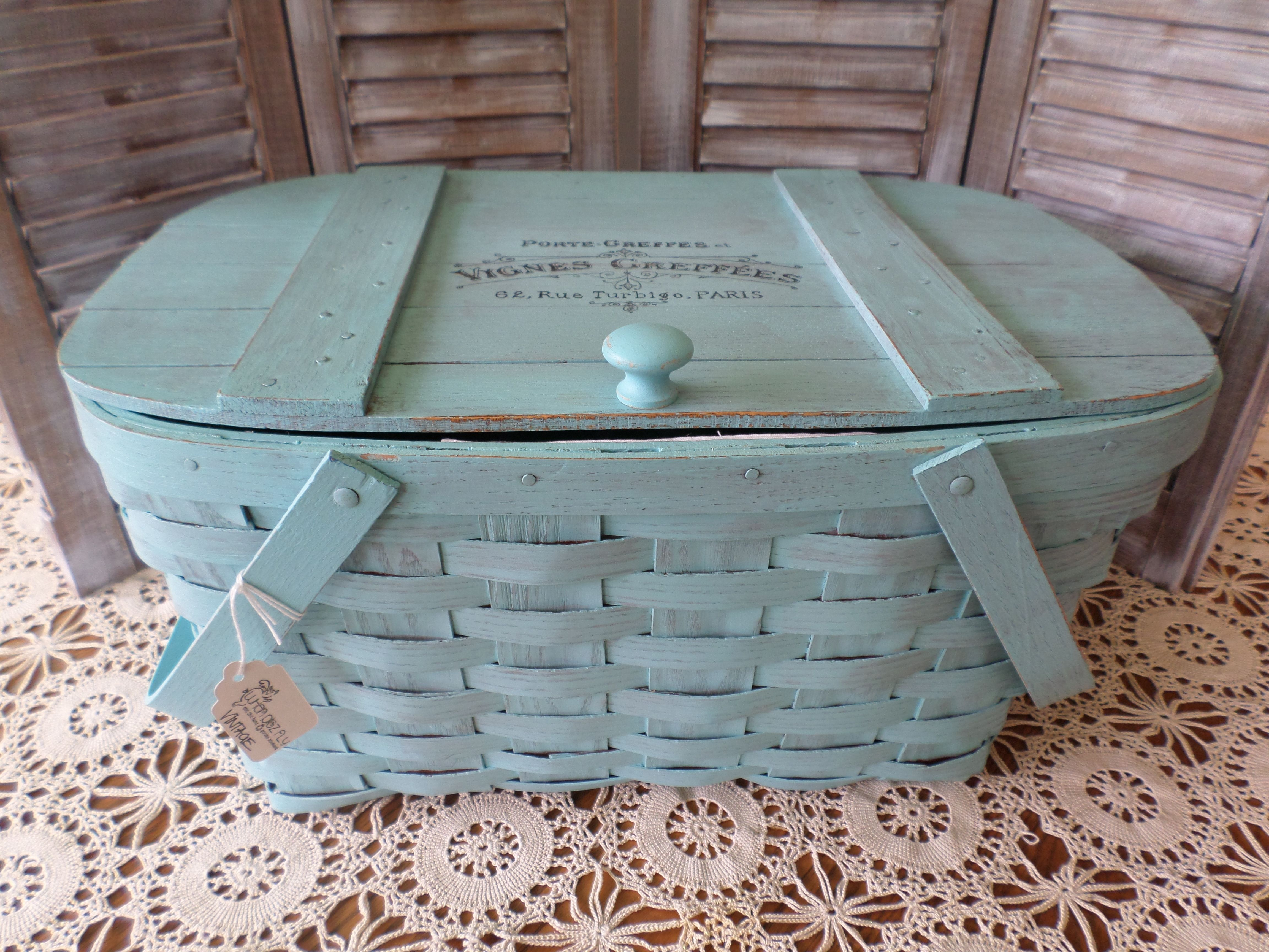 Upcycled picnic basket, painted, embellished with an image transfer ...