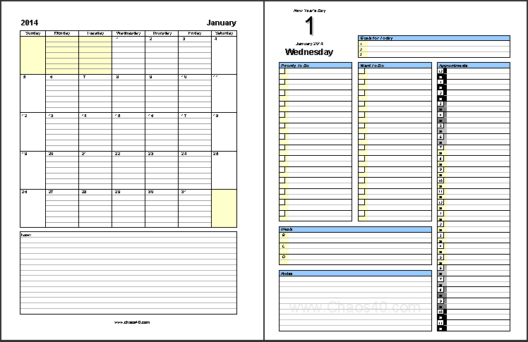 Daily Project Organizer Templates Free | January 2014 Free Daily ...
