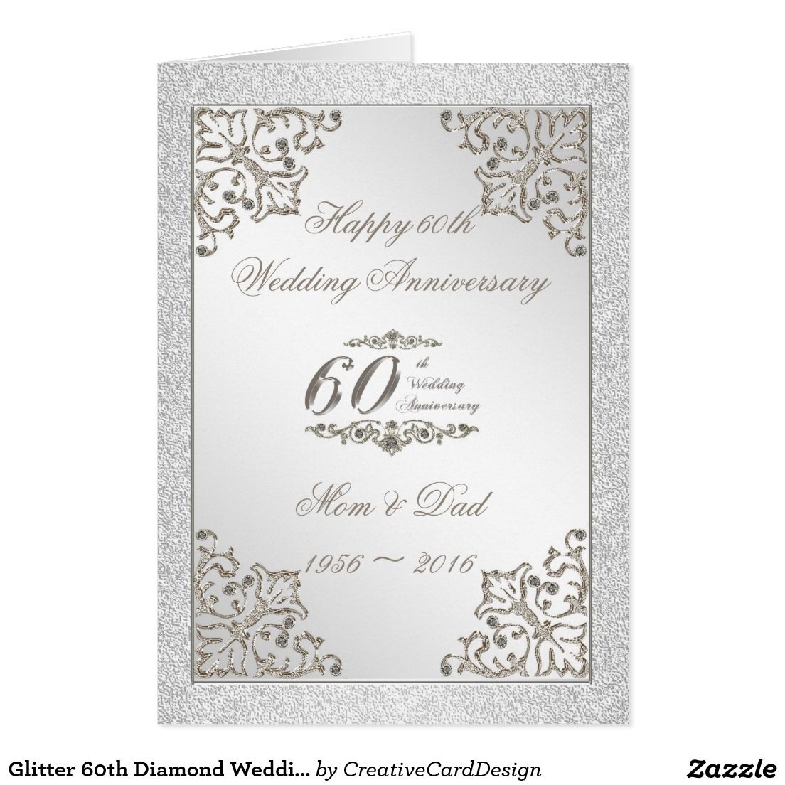 Glitter 60th diamond wedding anniversary card a creative card design glitter 60th diamond wedding anniversary card a creative card design featuring a platinum silver color and kristyandbryce Choice Image
