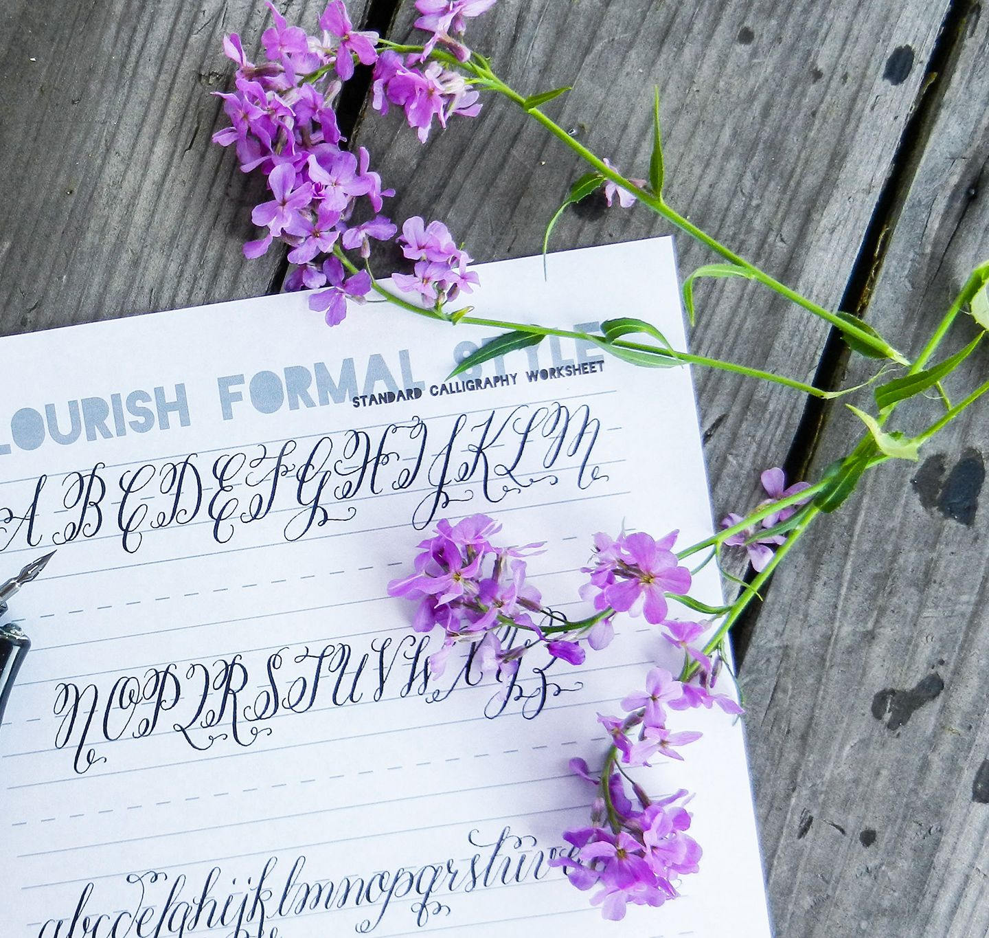 Flourish Formal Style Calligraphy Worksheet
