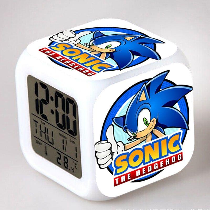 Sonic The Hedgehog Table Clock Led Light 7 Colors No 12 Led Alarm Clock Sonic Hedgehog