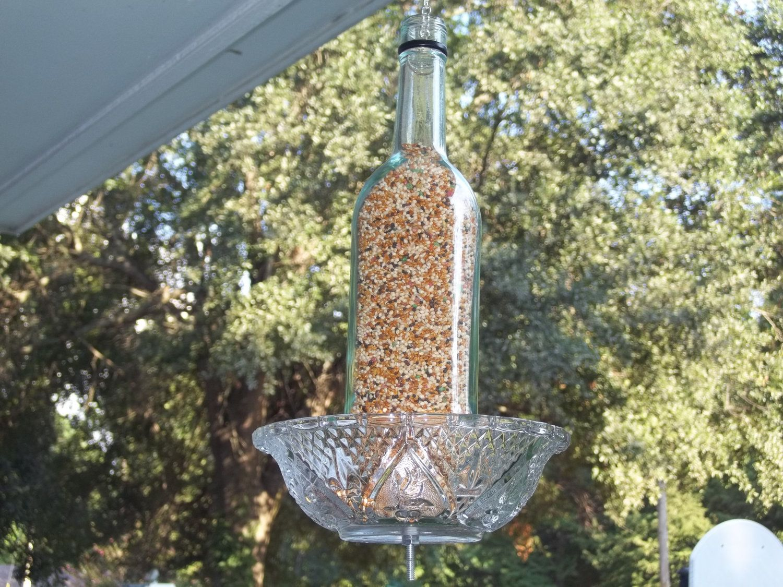 wine bottle bird feeder wine bottle dollar store glass
