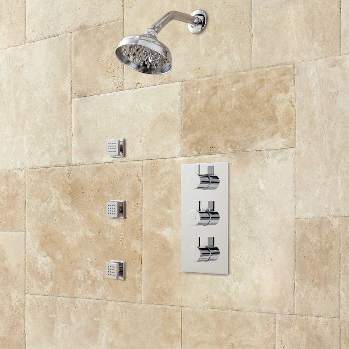 Isola Thermostatic Shower System with Wall Shower - 3 Body Jets ...