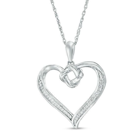 Zales 1/15 CT. T.w. Enhanced Black and White Diamond Heart Pendant in Sterling Silver