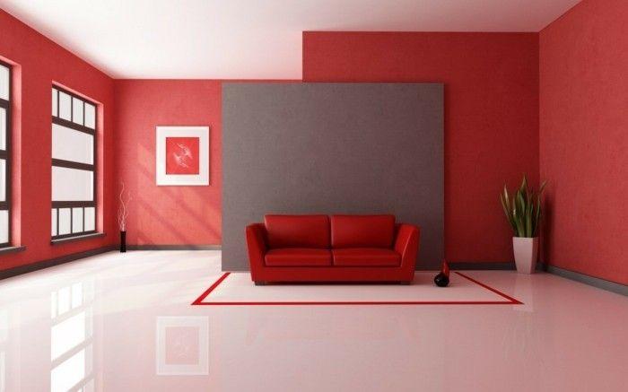 50 sehr interessante Wandtapeten Modelle! - wohnzimmer rot orange