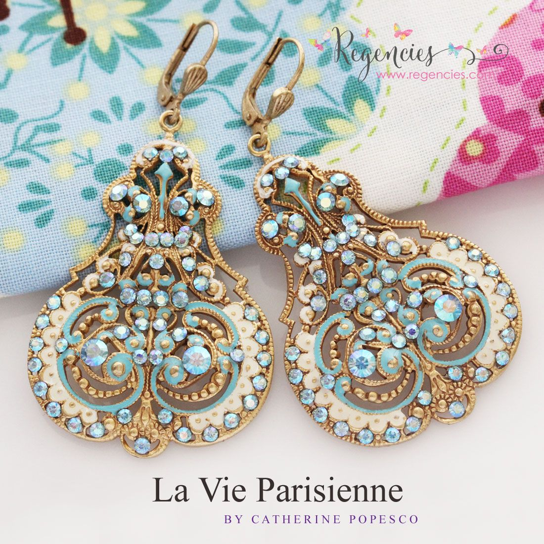 d5c19ad5a Absolutely gorgeous La Vie Parisienne by Catherine Popesco Swarovski Enamel  Contessa Scroll Large Statement Earrings in