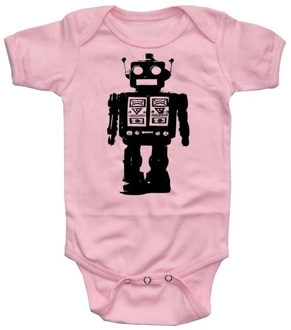 1c7847746caa Baby Girl ROBOT onesie pink bodysuit by happyfamily on Etsy