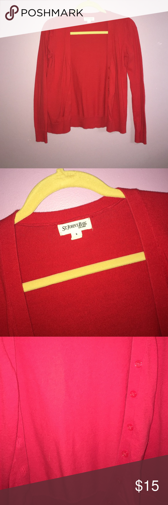 💖 St. John's Bay Red Cardigan • St. John's Bay Cardigan • Red • Small • Gently used • In great condition • NO TRADES • Open to reasonable offers • Bundle and save St. John's Bay Sweaters Cardigans