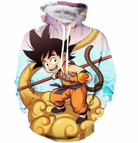 Happy Kid Goku Flying Cloud 3d Artwear Gorgeous Blue Sky 3d Hoodie Fellow Tees Kid Goku Dragon Ball Art Dragon Ball Goku