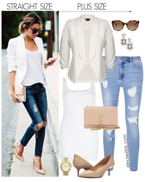 c8277cac3db Straight Size to Plus Size - White Blazer   Jeans - Plus Size Outfit Idea -  Plus Size Fashion for Women - alexawebb.com