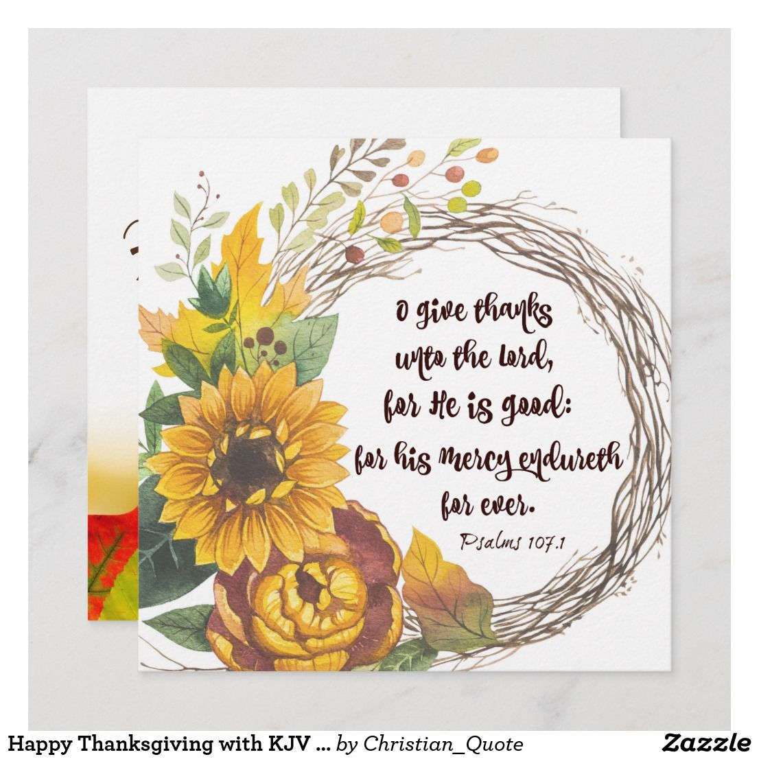 Happy Thanksgiving with KJV Bible Verse Holiday Card | Faith ...