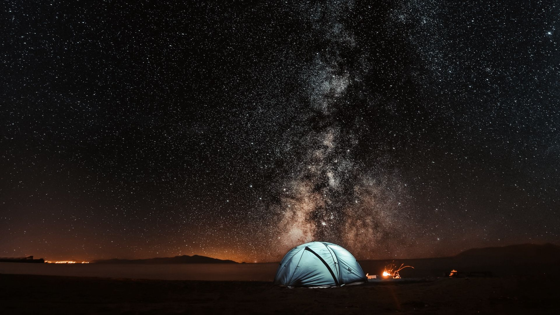 Download Wallpaper 1920x1080 Tent Starry Sky Night Tourism Full