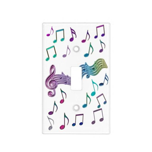 Crazy Rainbow Musical Notes Light Switch Cover  #music