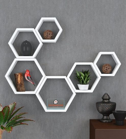 Hexagonal Modular Wall Shelves Set Of 6 In White Colour By