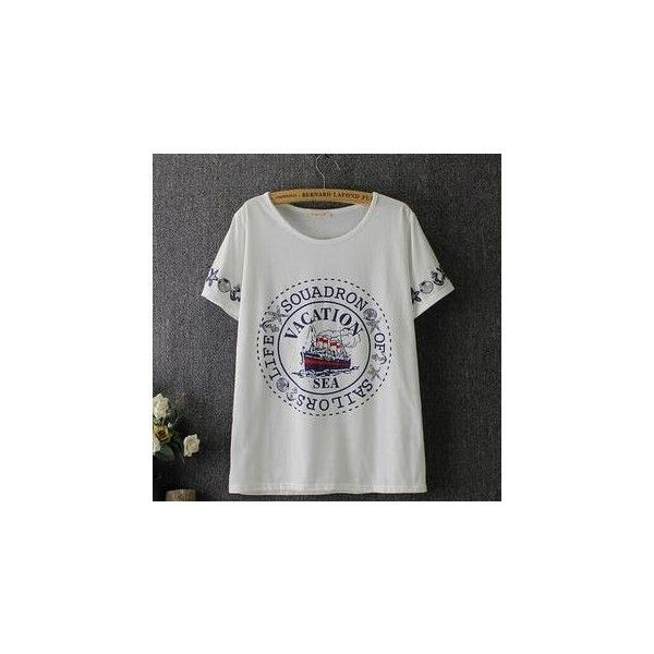 Short-Sleeve Lettering Print T-Shirt ($17) ❤ liked on Polyvore