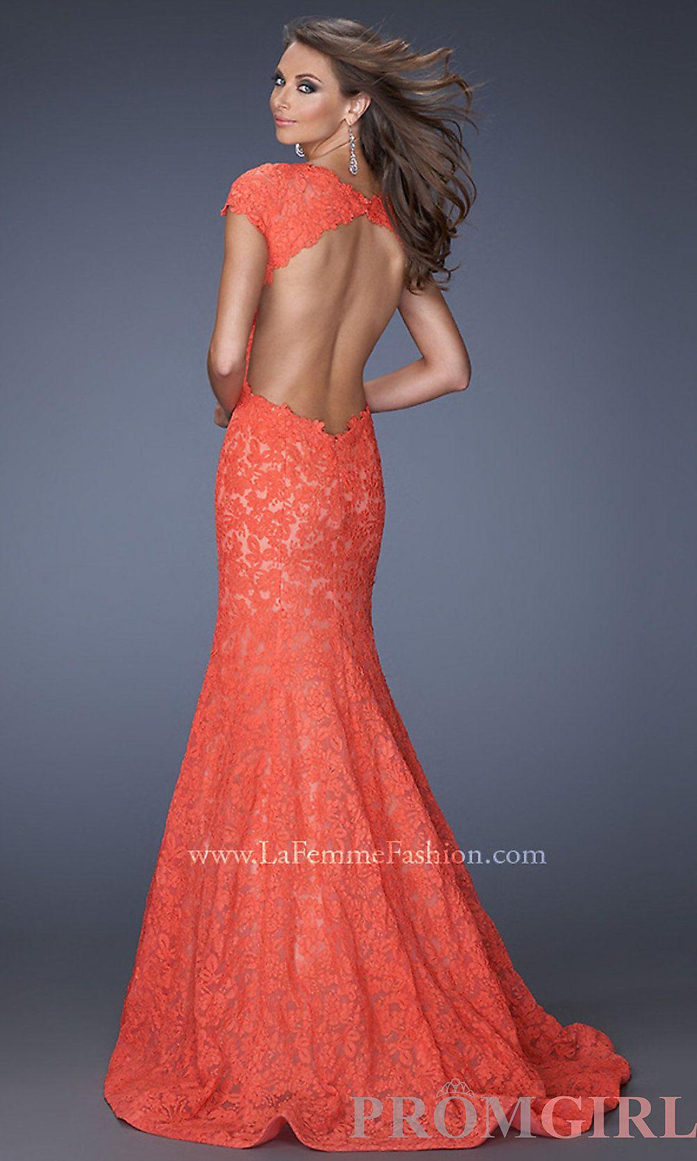La Femme Prom Dress Red Lace