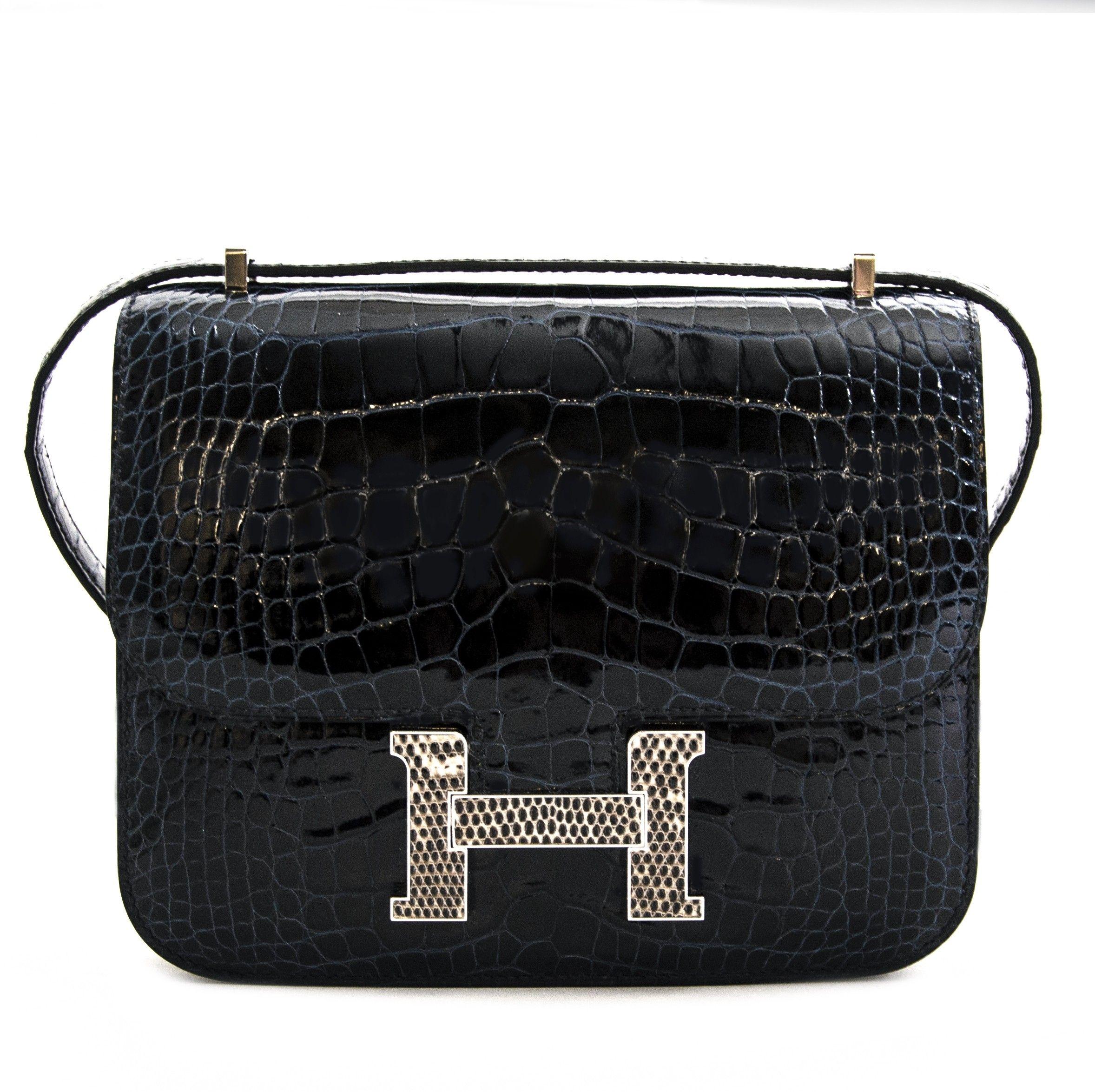 3aeeb482e Hermès Constance 18 Mini Marquete Alligator Miss Lisse / Lezard Bleu ...
