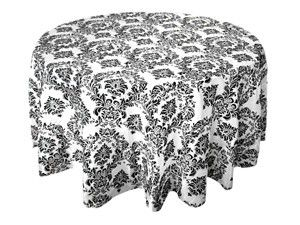 Damask Black & White 120 inch Tablecloth PlatesAndNapkins.com