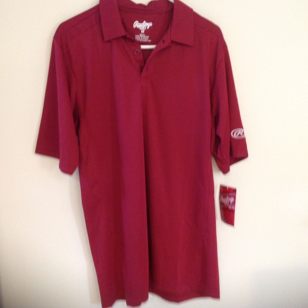 Rawlings Mens Short Sleeve Maroon Polo Shirt 3 Button Neck Nwt