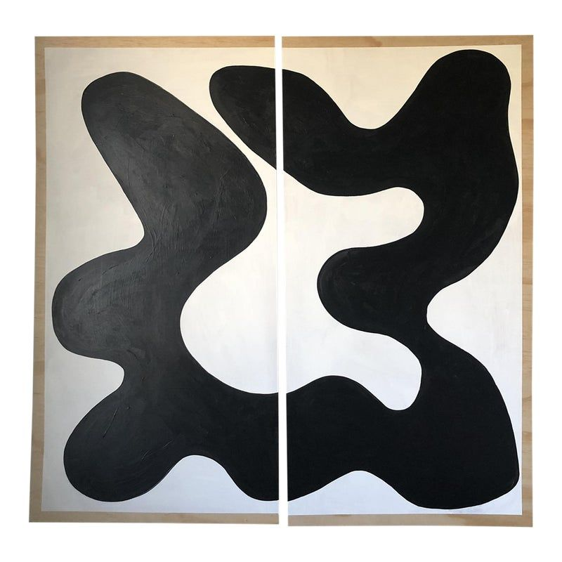 Animalia black and white abstract acrylic diptych painting