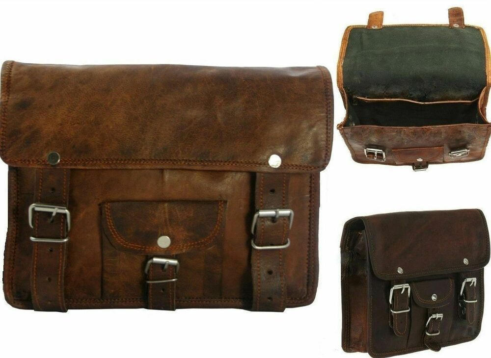 1 x Side Brown Leather Motorcycle Side Pouch Saddlebags Saddle Panniers 1 Bags