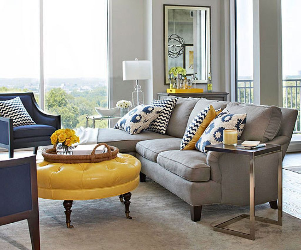 Cottage style living room in blue and white with pops of yellow ...