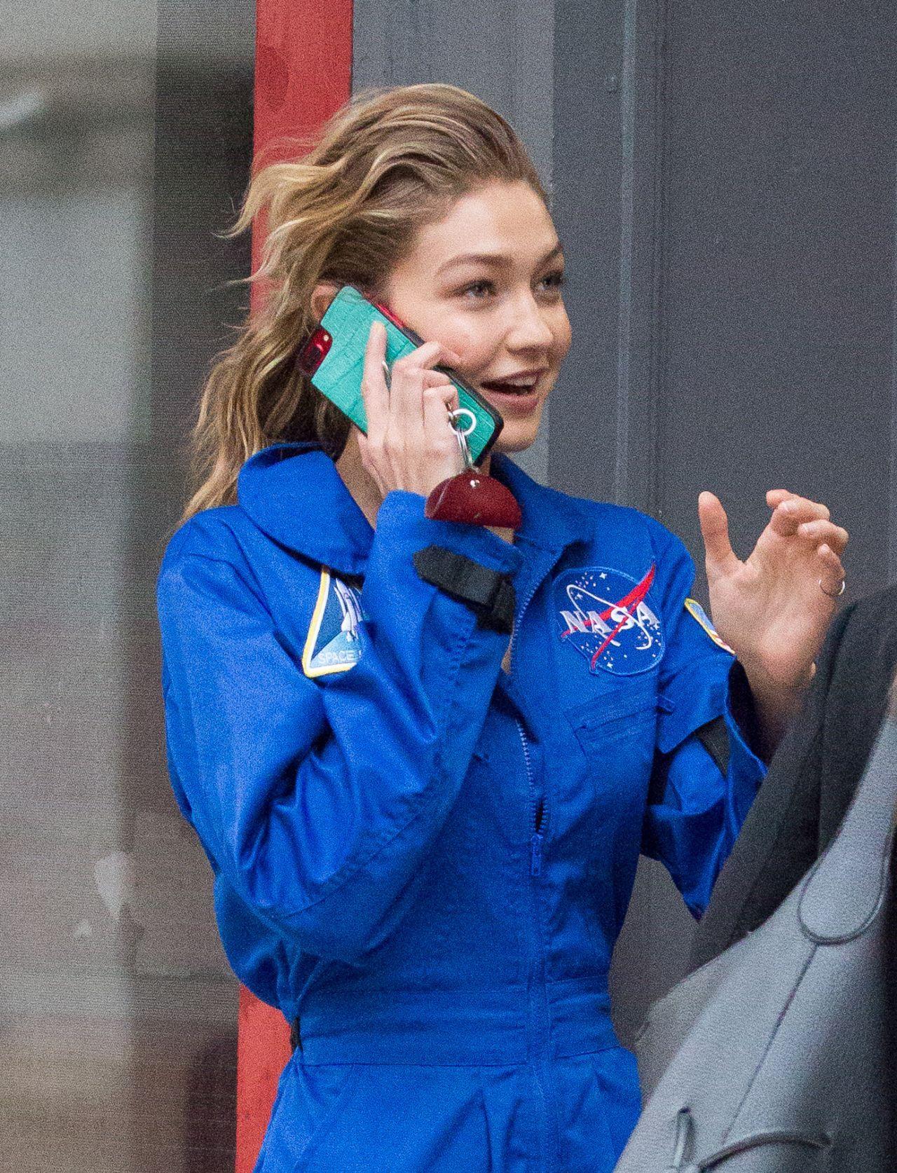 813bf3019c52 Gigi Hadid  GigiHadid in a Blue NASA Jumpsuit NYC 25 10 2017 http