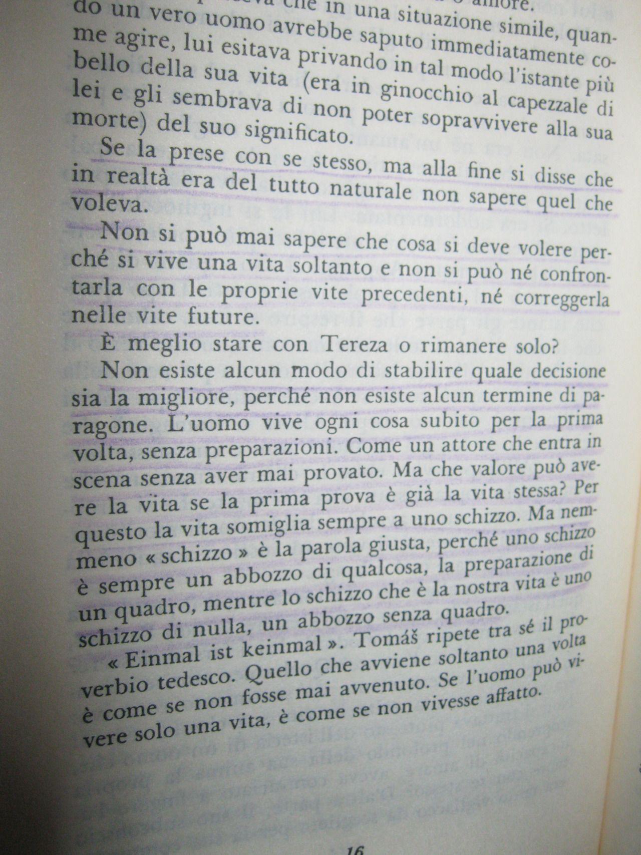 L Insostenibile Leggerezza Dell Essere Milan Kundera Citazioni