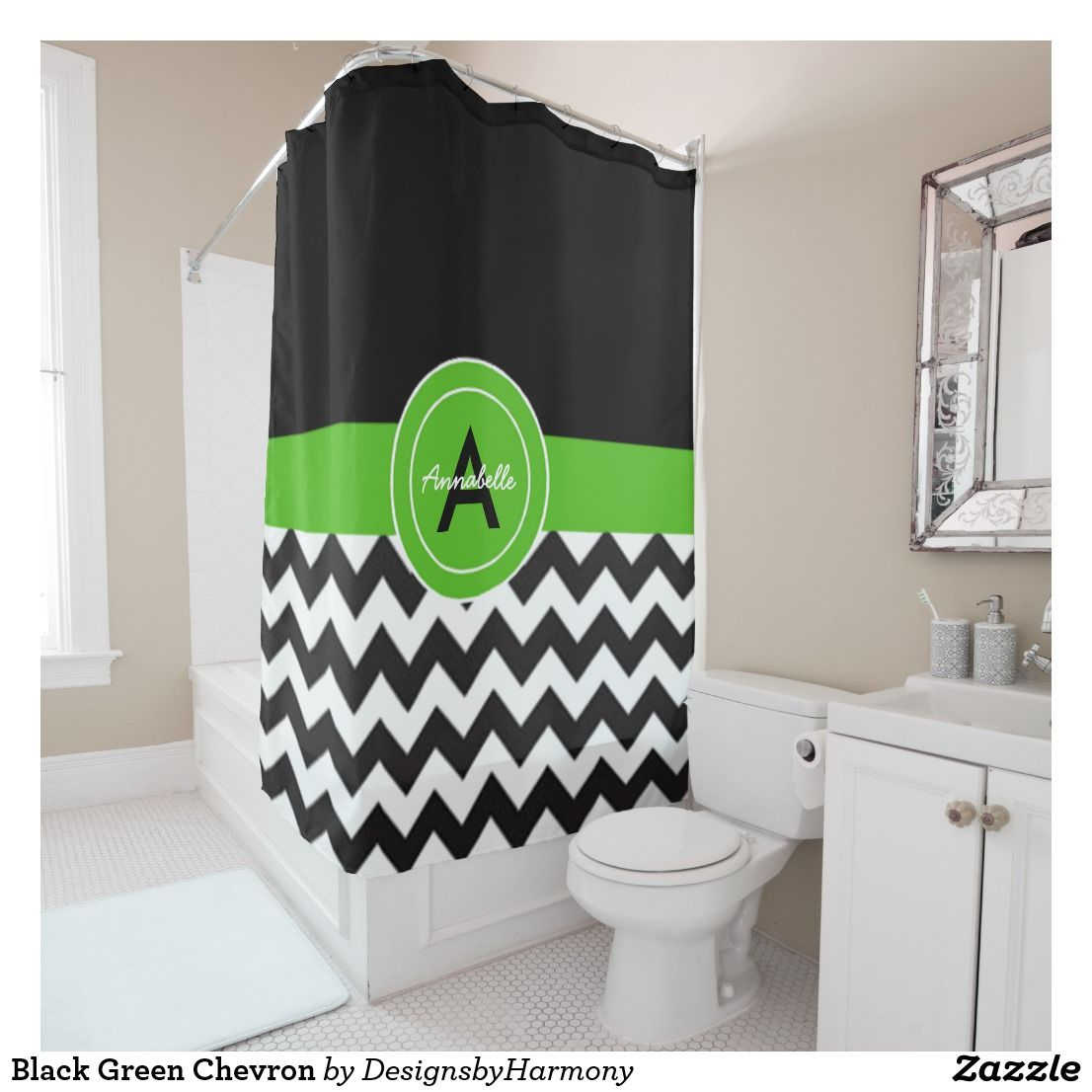 Black Green Chevron Shower Curtain Zazzle Com Green Chevron