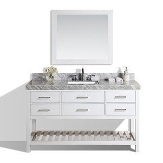 Shop for 60-inch Laguna White Single Modern Bathroom Vanity with White Marble Top. Get free delivery at Overstock.com - Your Online Furniture Outlet Store! Get 5% in rewards with Club O!