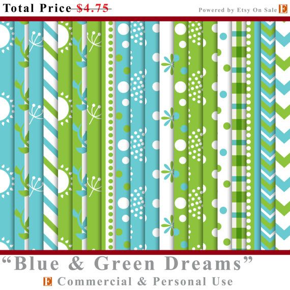 80% MEGA OFF SALE Blue Green Dreams Digital Stripe Paper / Blue Green Dreams Digital Stripe Papers / Blue Green Dreams Stripe Digital Papers