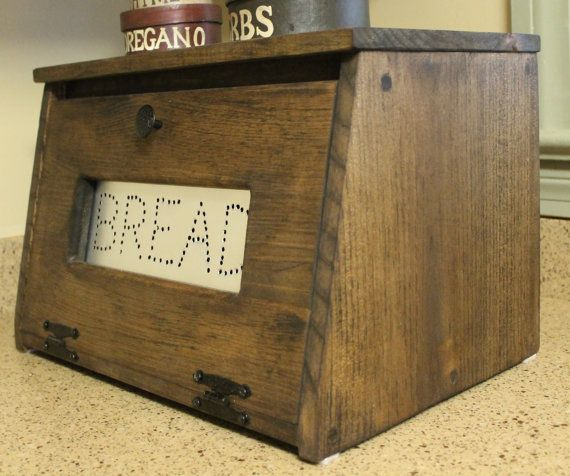 Wood Bread Box Bin Wooden Punched Tin Storage Primitive Cupboard Counter Top Country Kitchen Handmade Home Decor Holder
