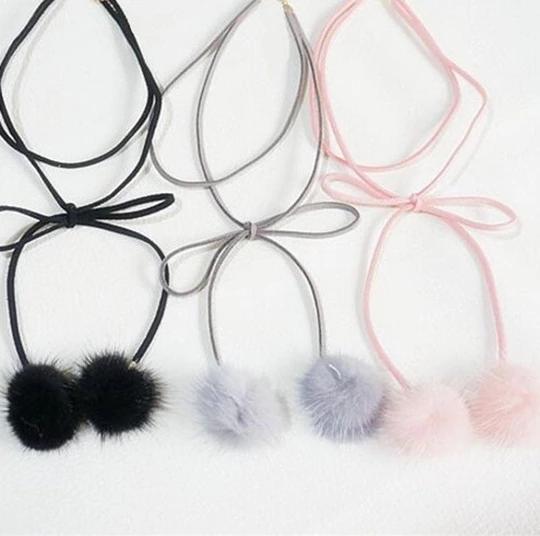 Stylish Women Fur Ball Pompom Circle Pendant Long Sweater Chain Necklace Jewelry