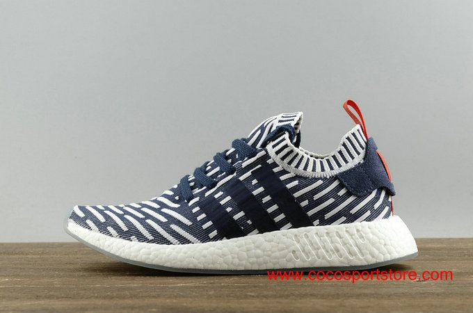 203e96b747d32 Adidas NMD R2 Primeknit Blue Stripe Men s Running Shoes BB2909  68.00