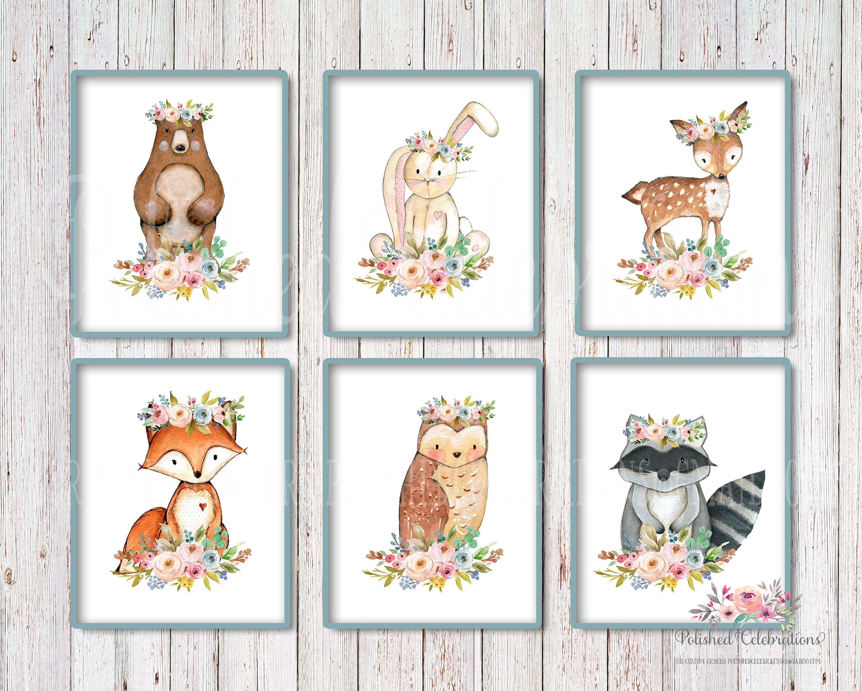 Boho Woodland Animals Wall Art Prints / Nursery Art / Mint And Pink /  Floral Watercolor / Baby Shower Theme Decor / Bedroom Print Set