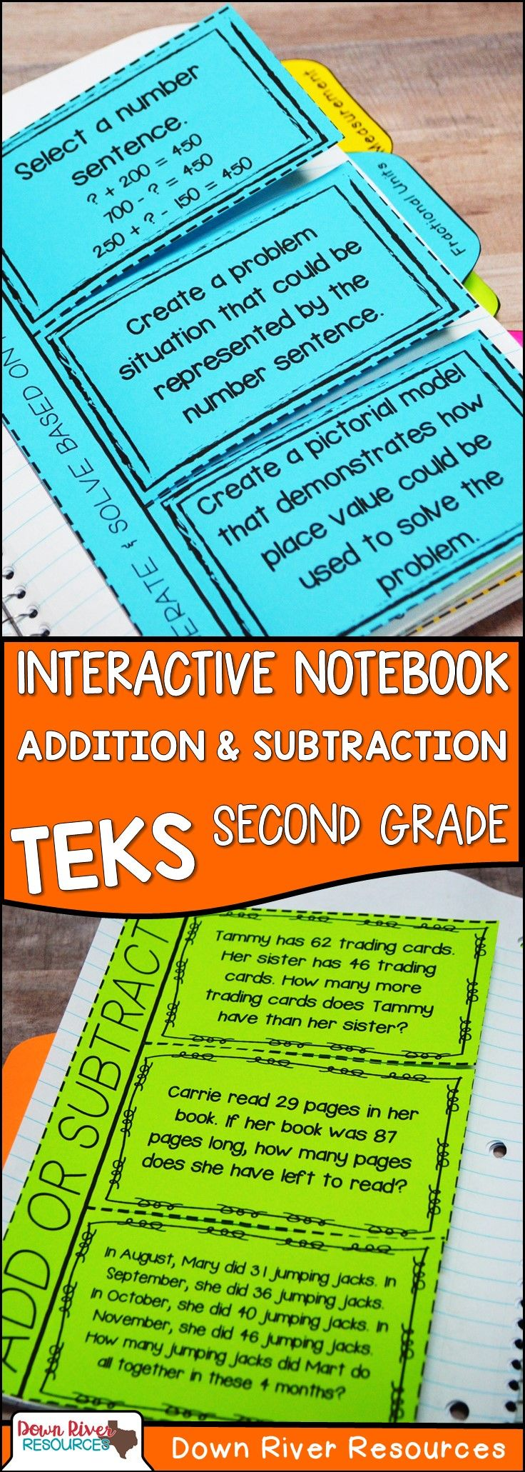 Second Grade Math Interactive Notebook: Addition & Subtraction ...