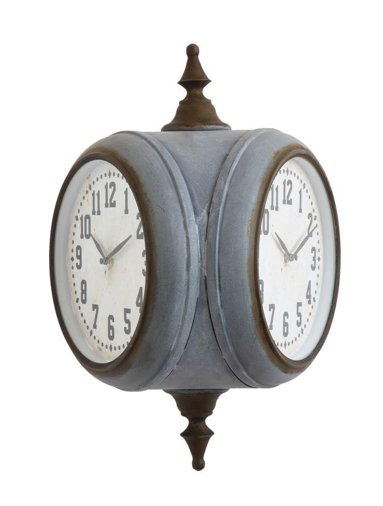 This Metal Double Sided Train Station Wall Clock Flaunts Both A Rustic And Vibe It Is Large In Size Style Hangs Perpendicular To