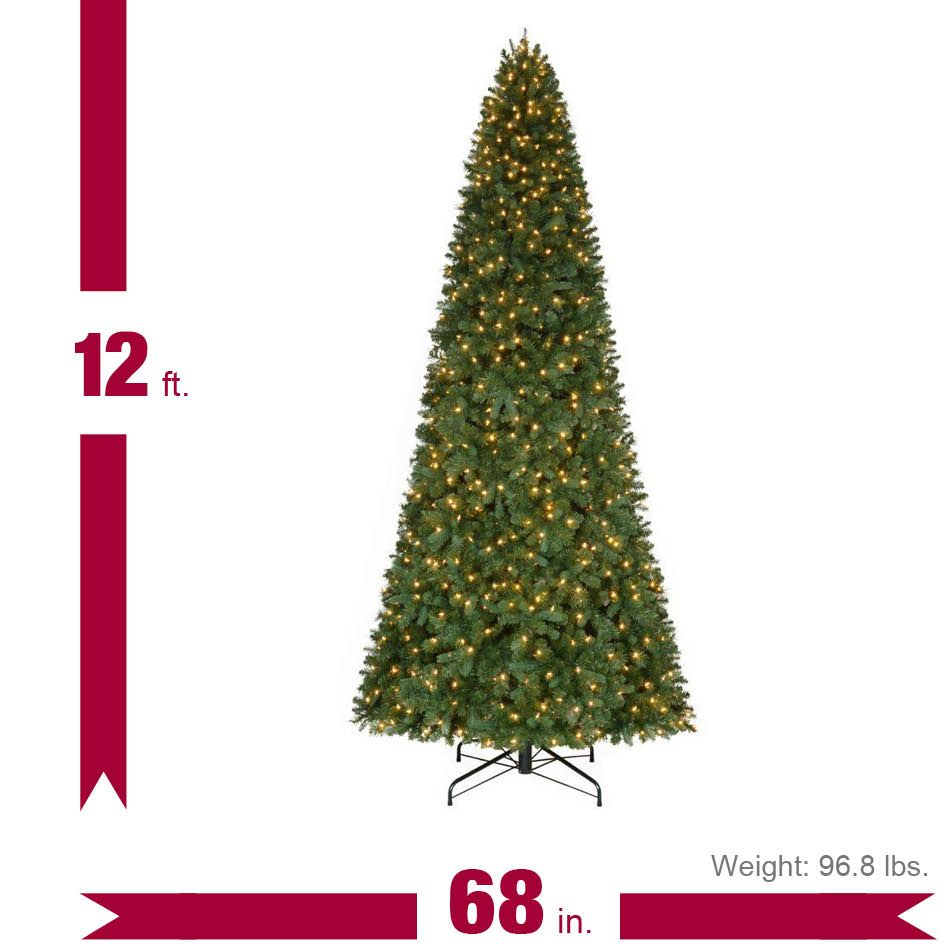 Home Accents Holiday 12 Ft Pre Lit Led Morgan Pine Quick Set Artificial Christmas Tree With Warm White Lights Tgc0p5402l01 The Home Depot Artificial Christmas Tree Christmas Tree Led Lights