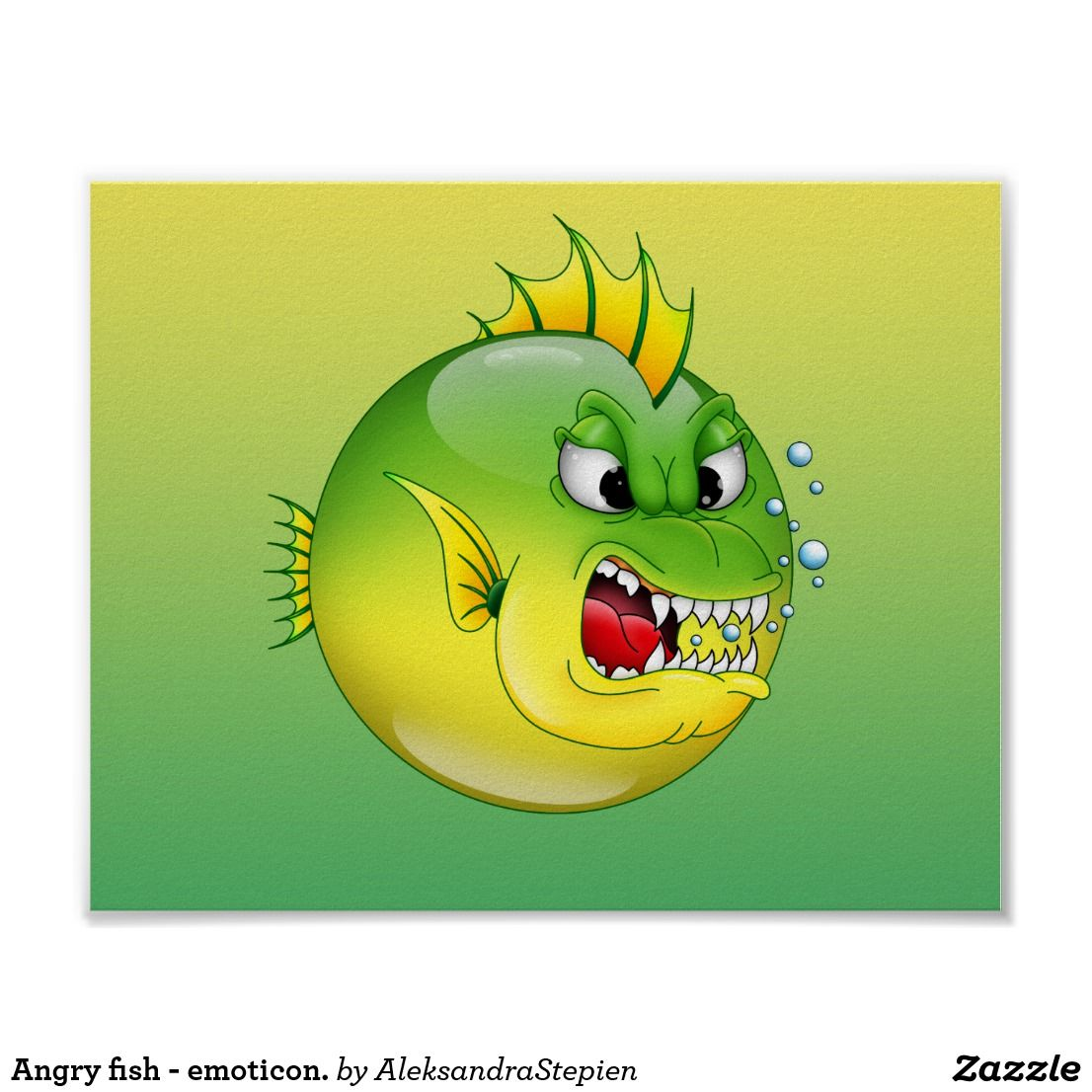 Angry fish emoticon. poster Cute fish