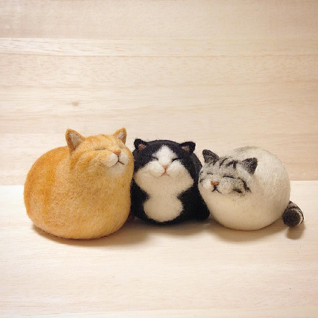 「 ころりんねこ 実家猫3匹。今はトラしかいないけど、こうやって並べるとやっぱりしっくりくるな〜^_^ #cat #gingercat #bicolorcat #silvertabby #トラ猫 #ハチワレ #サバトラ #needlefelt #needlefelting #felt #felted… 」 #needlefeltedcat
