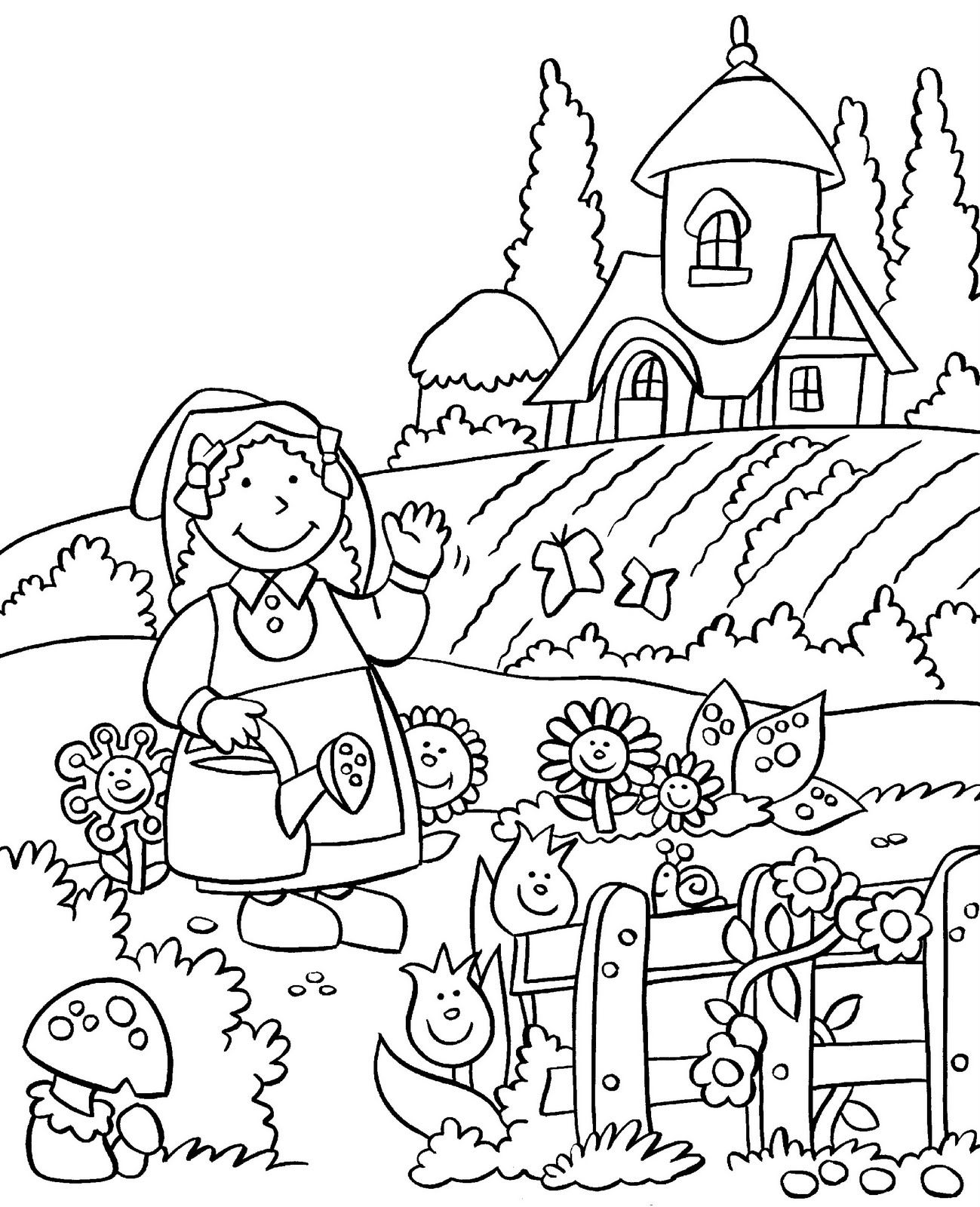 Gardening Coloring Page For Kids Color Dibujos Dibujo De