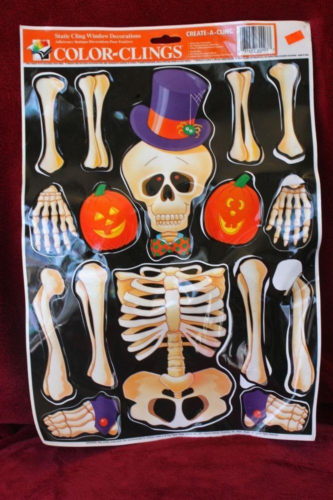 Color Clings Skeleton Halloween Static Window Cling Halloween - halloween window clings