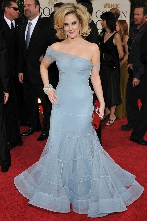 Drew Barrymore in John Galliano dress at Golden Globes (Glamour ...