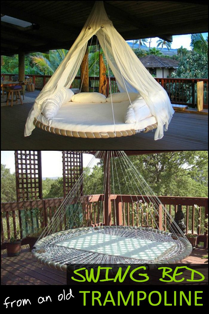 Swing bed made from recycled trampoline en 2019 balancoire lit flottant decoration jardin - Trampoline maison ...